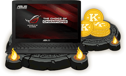 15 inch ASUS Gaming laptop and Kreds pile