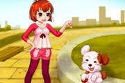 Play Cute Girl and Puppy