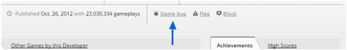 Game bug link on Kongregate game page