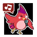 Pinkbird stickers singing