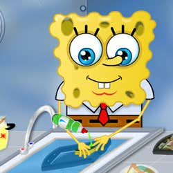 Play SpongeBob washing dishes